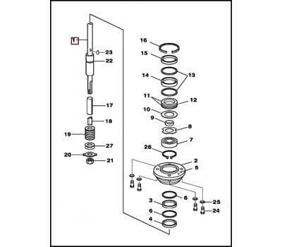 Вал в сборе с подшипниковым узлом TOHATSU/MERCURY 40-50